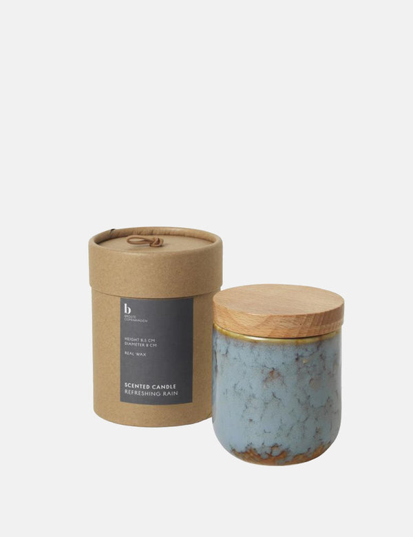 Broste Copenhagen Refreshing Rain Scented Candle - Blue/Brown - Article