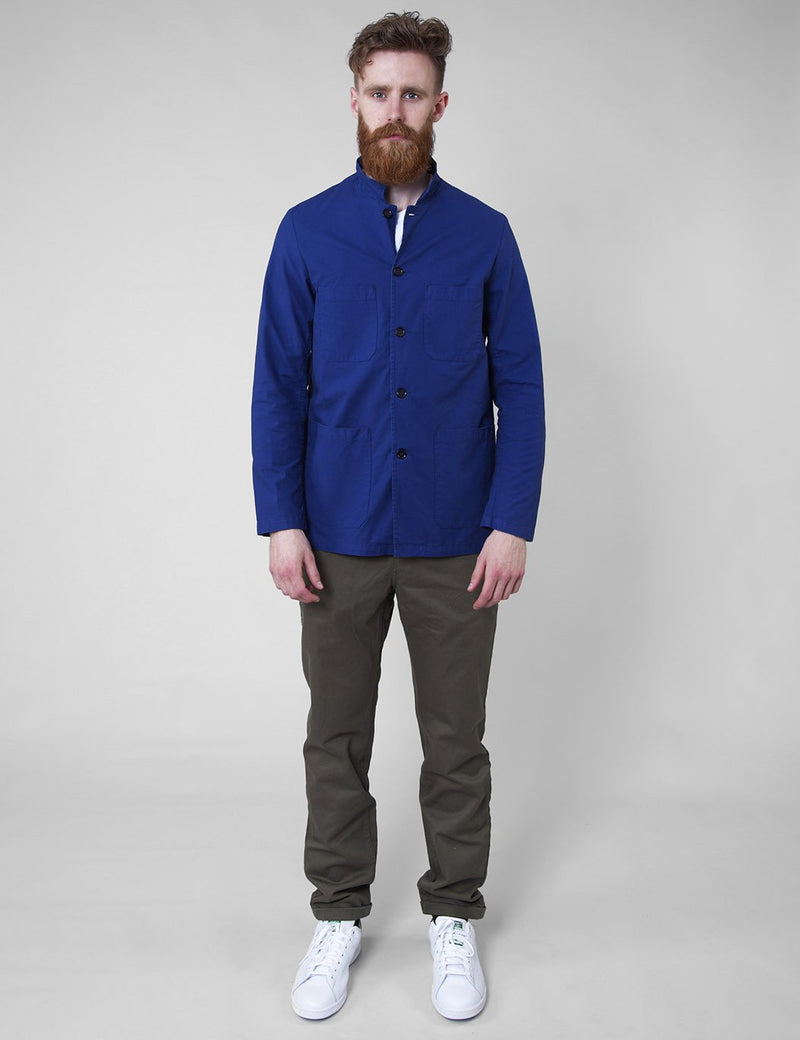 Vetra French Workwear Jacket Small Collar (Overdyed) - Hydrone Blue
