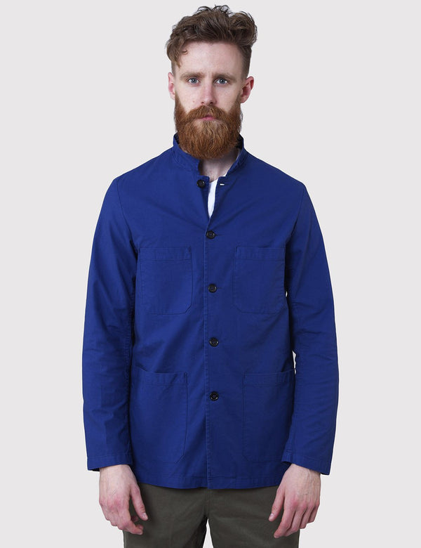Vetra French Workwear Jacket Small Collar (Overdyed) - Hydrone Blue - Article.