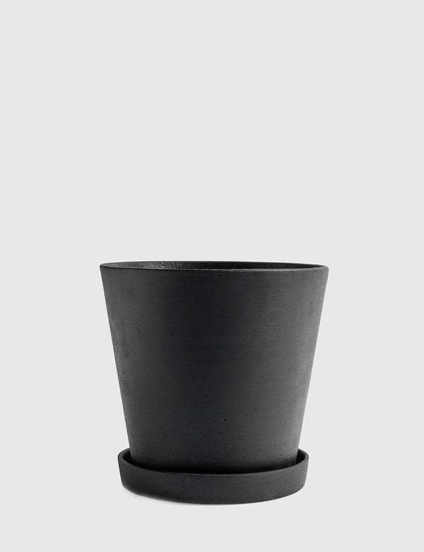 Hay Flower Pot with Saucer XX-Large - Black