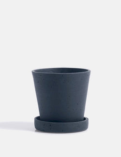 Hay Flower Pot with Saucer (Small) - Dark Blue