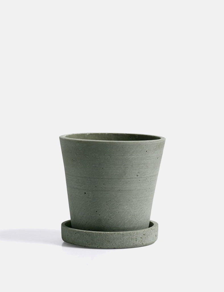 Hay Flower Pot with Saucer (Small) - Green