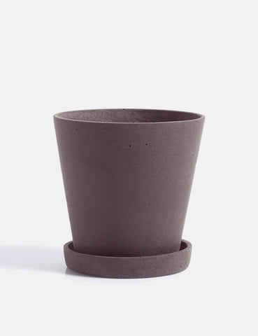 Hay Flower Pot with Saucer (Medium) - Plum
