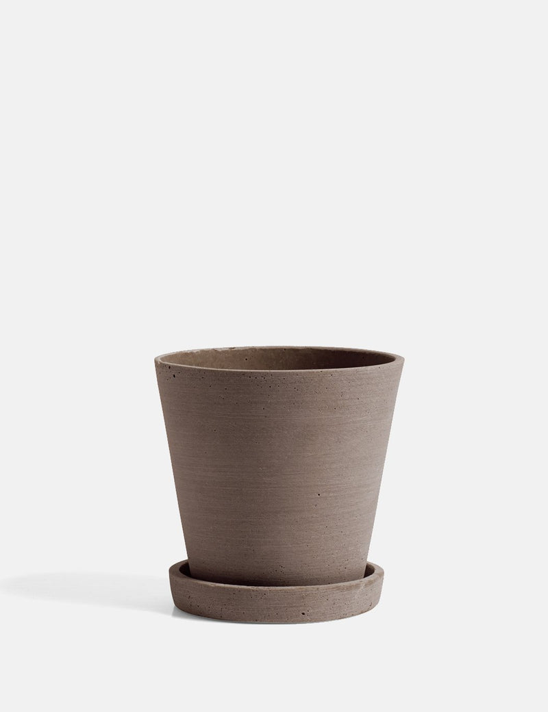 Hay Flower Pot With Saucer (Medium) - Terracota