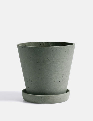 Hay Flower Pot with Saucer (Large) - Green
