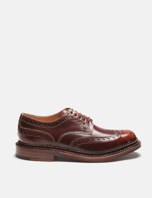 Grenson Archie Triple Welt Brogues - Mahogany Brown