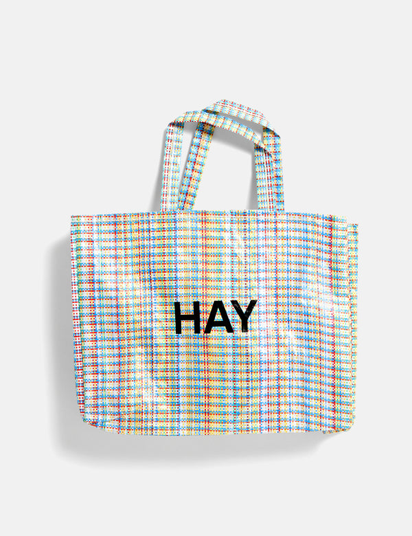 Hay Multi Check Shopper (Medium) - Blue and Orange