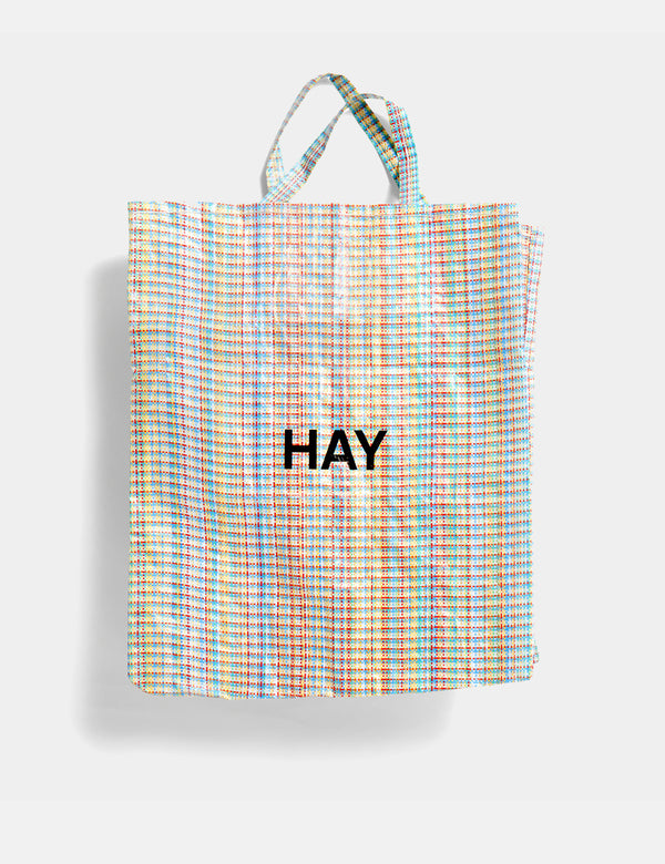 Hay Multi Check Shopper (XL) - Blue and Orange