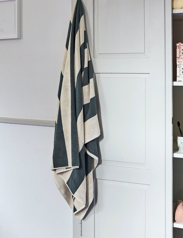 Hay Frotté Stripe Bath Towel - Dark Green