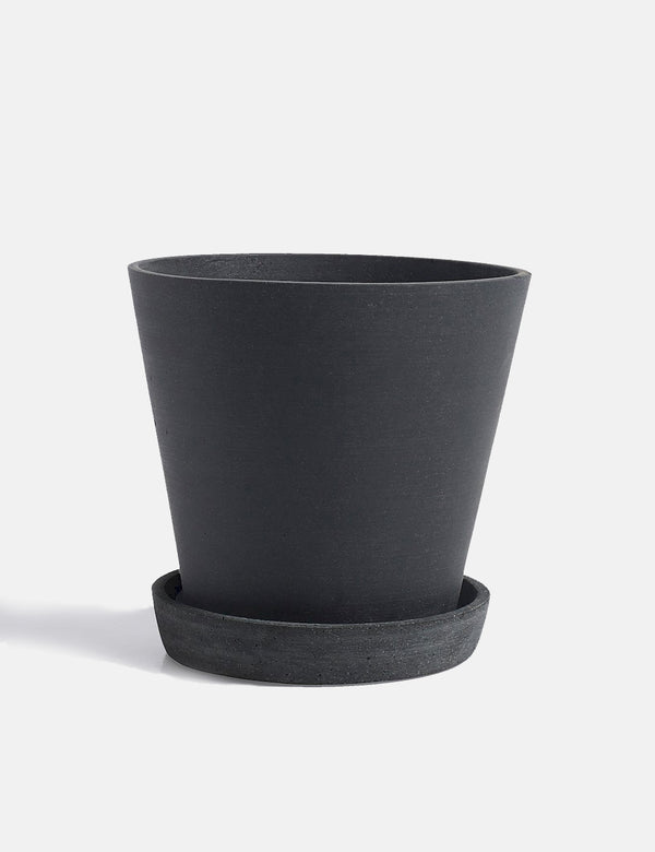 Hay Flower Pot with Saucer (Large) - Black