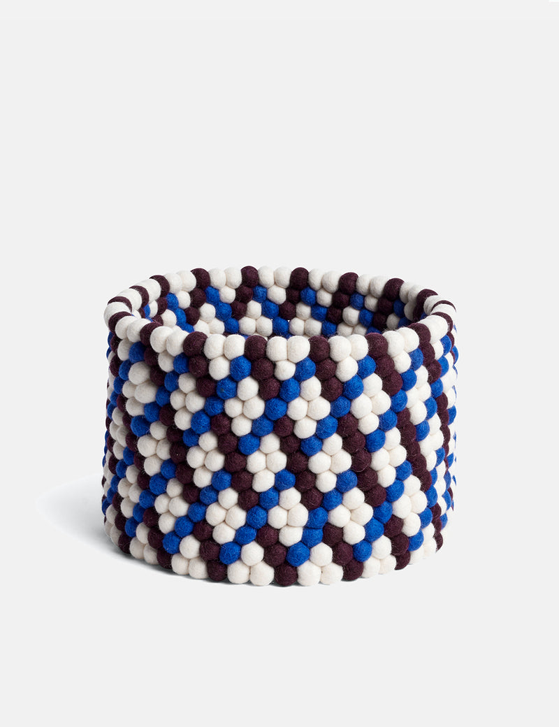 Hay Bead Basket - Burgundy/Blue/White