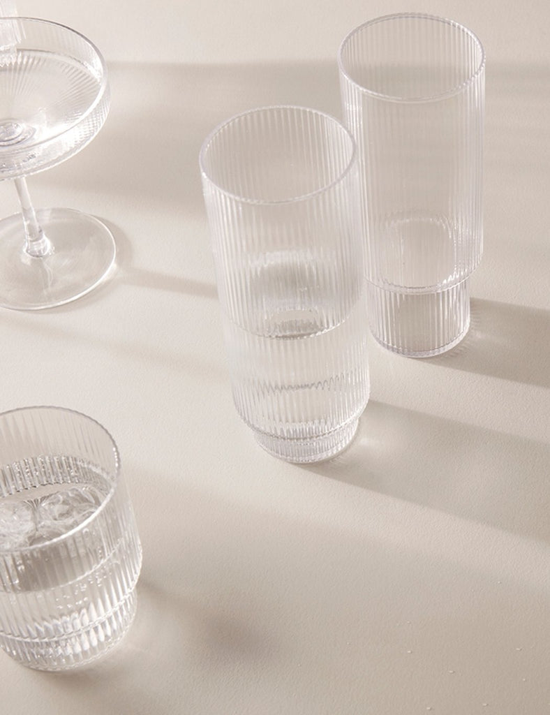Ferm Living Ripple Long Drink Glasses (Set of 4) - Clear