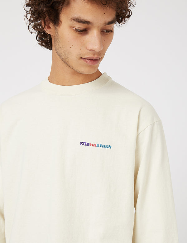 Manastash Emblem Logo Long Sleeve T-Shirt - Natural