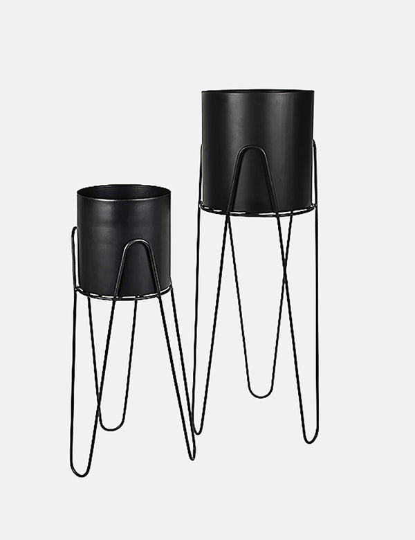 Broste Copenhagen Lisa Flowerpot and Iron Stand (Set of 2) - Black