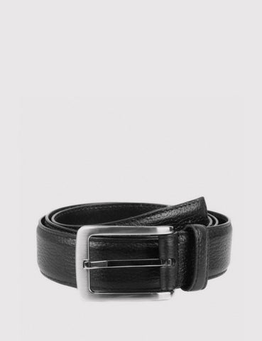 Dents Textured Leather Belt - Black Leather