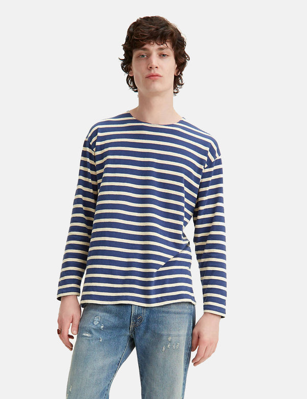 Levis Vintage Clothing Bay Meadows Stripe Tee - Blue/Cream