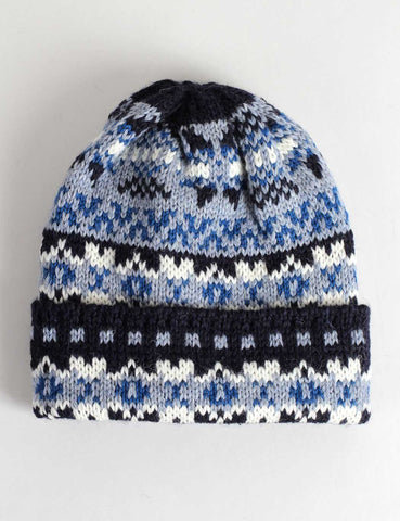Highland 2000 Fairisle Beanie Hat - Navy/Grey
