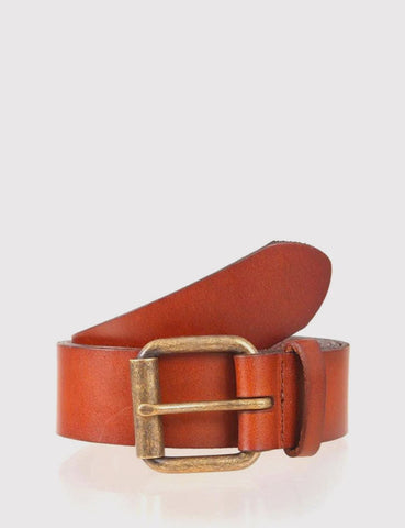 Dents Casual Waxed Leather Belt - Tan Leather