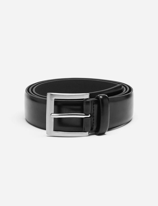 Dents Plain Leather Belt - Schwarzes Leder