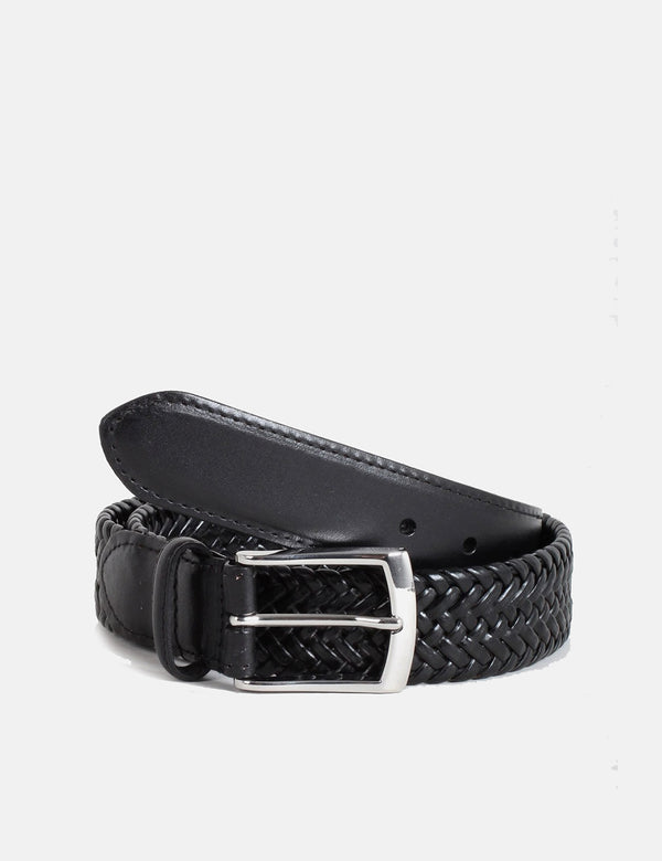Dents Plaited Leather Belt - Black