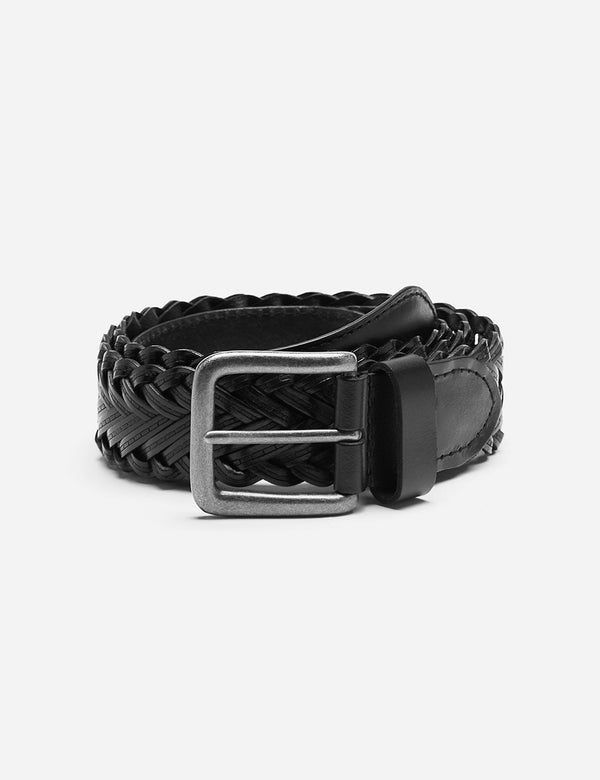 Dents Plaited Leather Belt - Black Leather