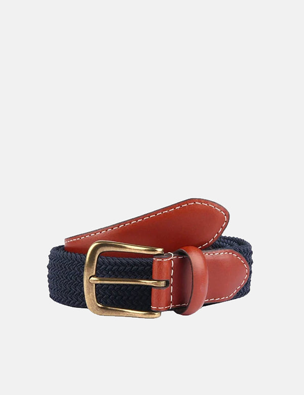 Dents Stretch Elastic Webbing Belt - Navy Blue