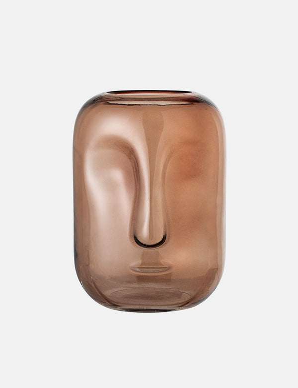 Bloomingville Glass Vase (Face) - Brown