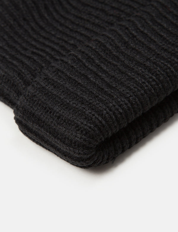 Article. Fisherman Rib Beanie Hat - Black