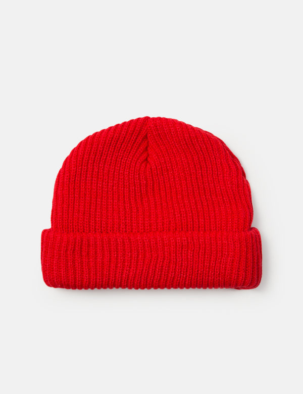 Article. Fisherman Rib Beanie Hat - Red