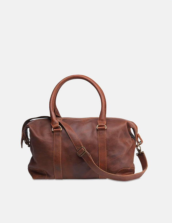 Nkuku Badwa Weekend Bag (Leather) - Dark Tanned