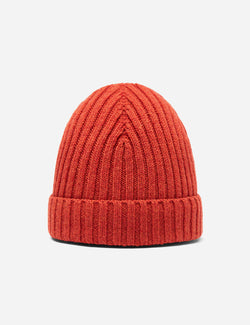 Bhode Rib Beanie Hat (Lambswool) - Ember Orange