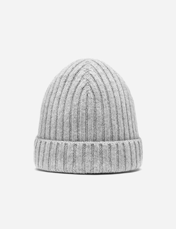 Bhode Rib Beanie Hat (Lambswool) - Light Grey