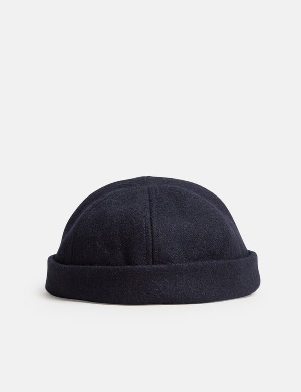 Bhode Dock Worker Hat (Wool) - Midnight Navy