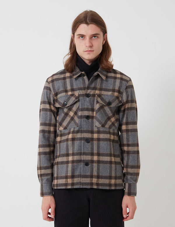 Bhode Check Overshirt (Italian Wool) - Grey/Brown