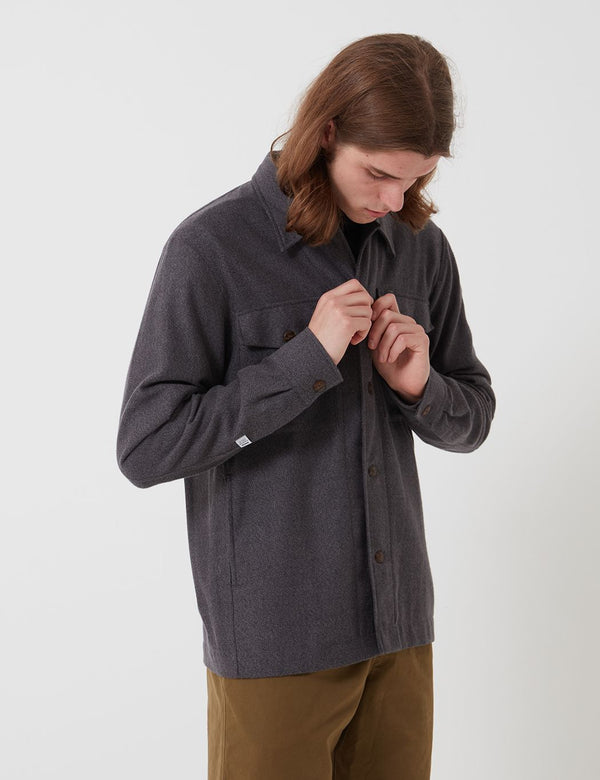 Bhode Flannel Over Shirt (Cotton) - Charcoal Grey