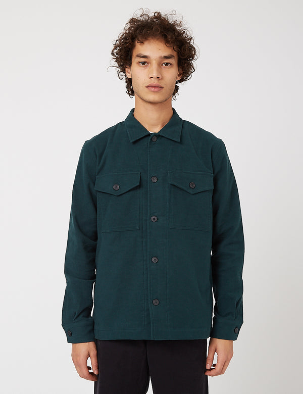 Bhode Overshirt (Cotton Moleskin) - Forest Green