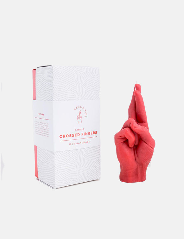 CandleHand Crossed Fingers Candle - Red