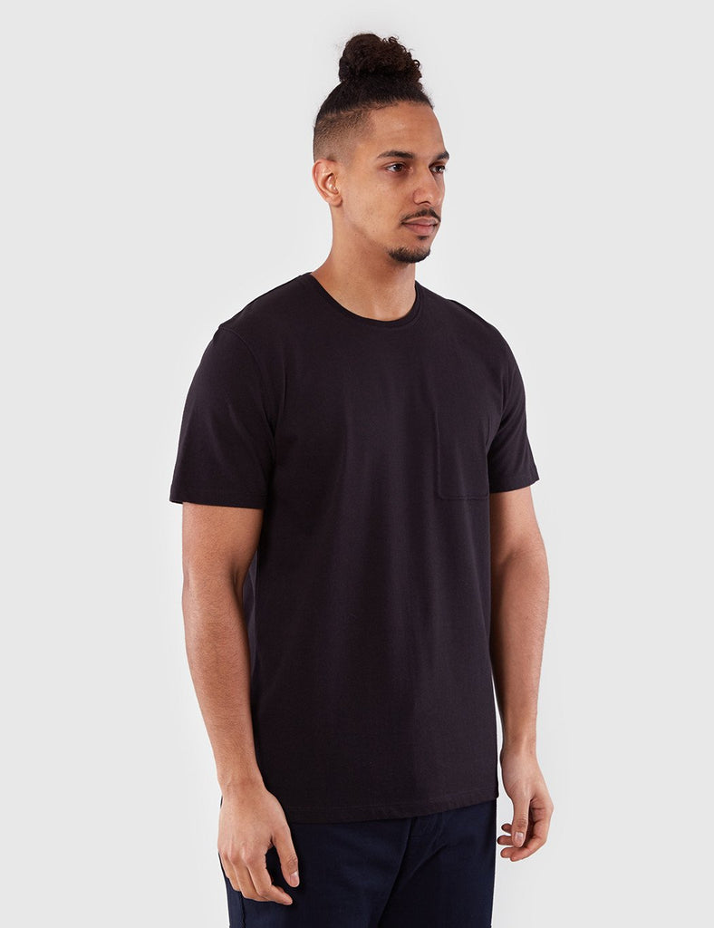 Folk Deboss Pocket T-Shirt - Black