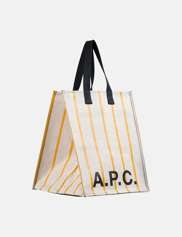 A.P.C. Construction Shopping Bag - White/Orange