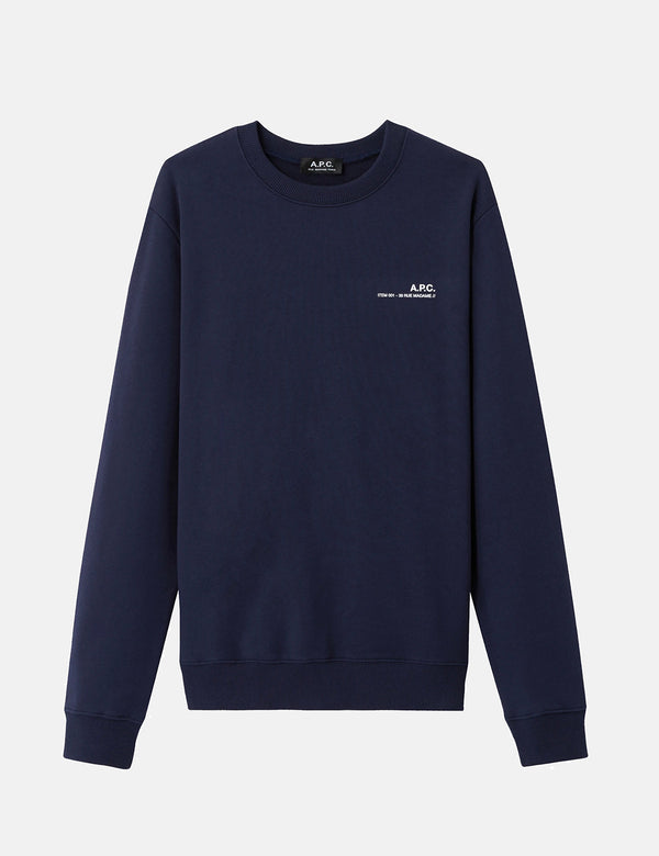 A.P.C. Chest Logo Sweatshirt (39 Rue Madame) - Dark Navy Blue