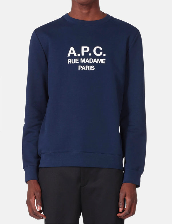 A.P.C. Rufus Sweatshirt (Embroidered Logo) - Marine/Dark Navy