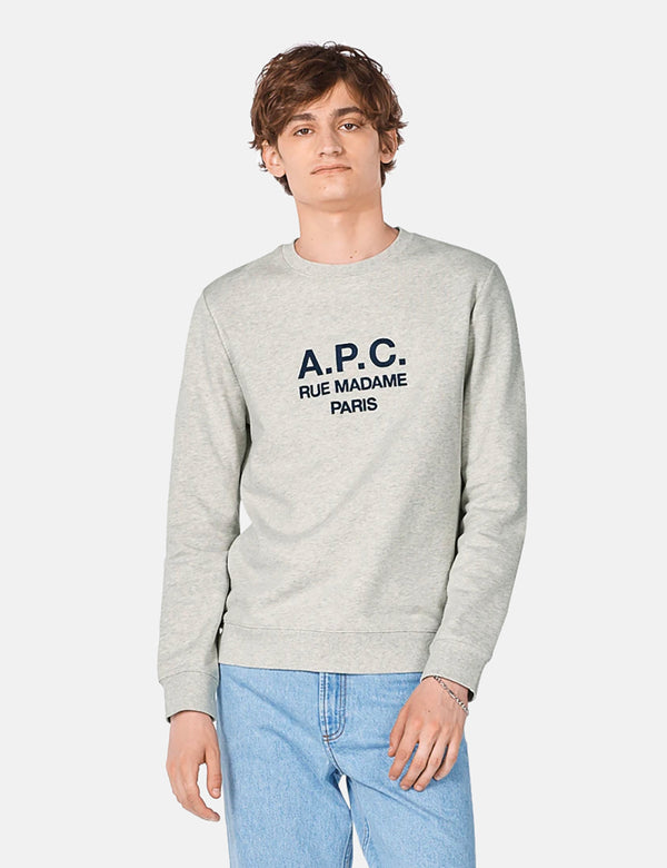 A.P.C. Rufus Sweatshirt (Embroidered Logo) - Grey Heather