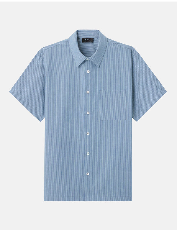 A.P.C. Bruce Short Sleeve Shirt (Striped Chambray) - Blue