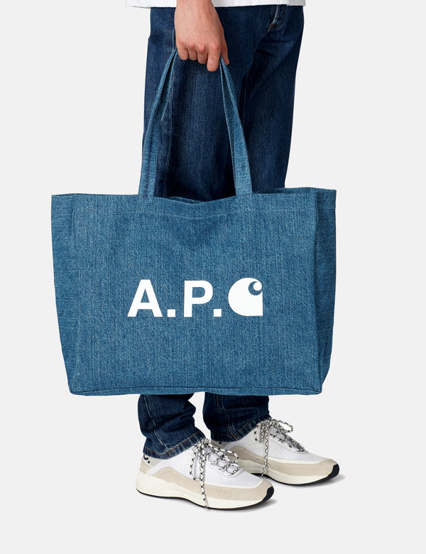 A.P.C. x Carhartt-WIP Shopping Bag - Washed Indigo