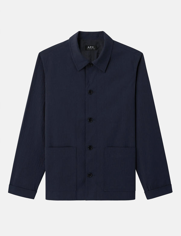 A.P.C. Martin Jacket (Seersucker) - Dark Navy Blue