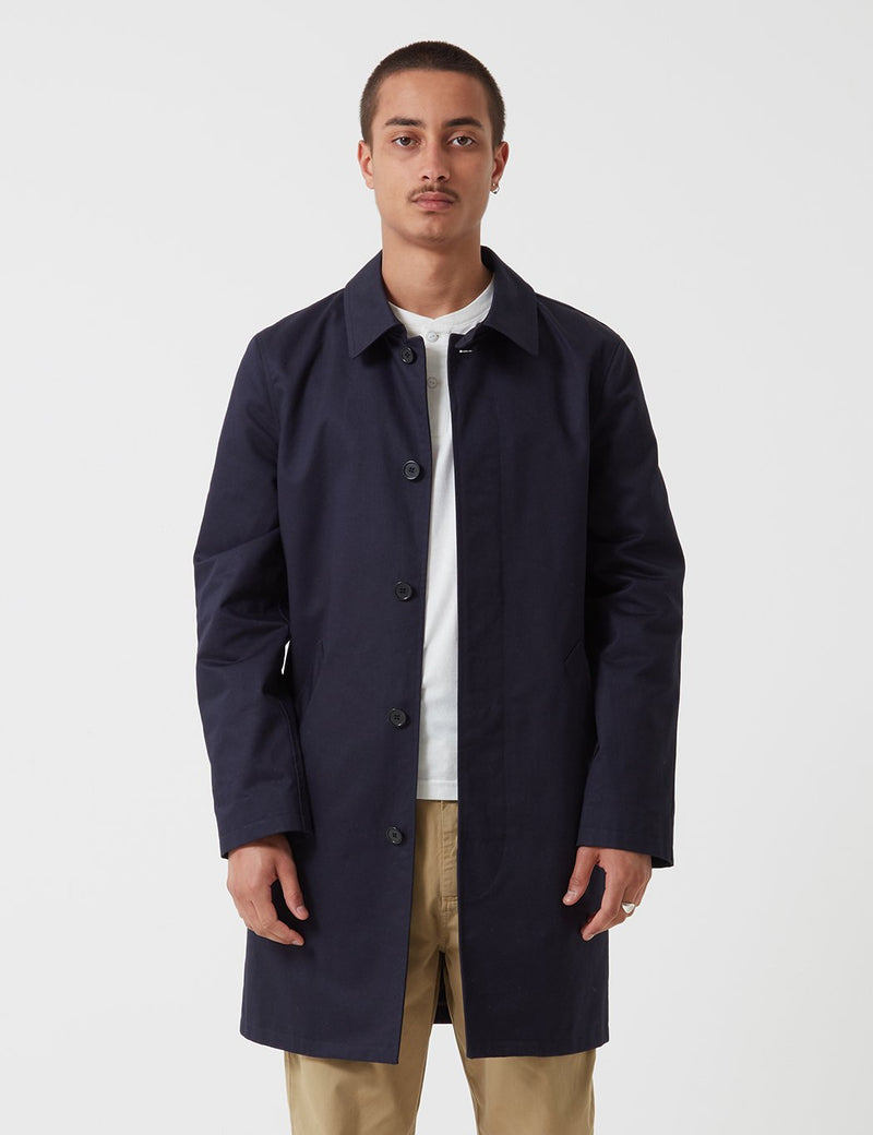 A.P.C. Mac Ville Trench Coat - Dark Navy Blue - Article