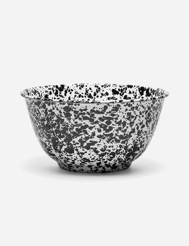 Crow & Canyon Marbled Enamel Salad Bowl (Large)  - Black - Article