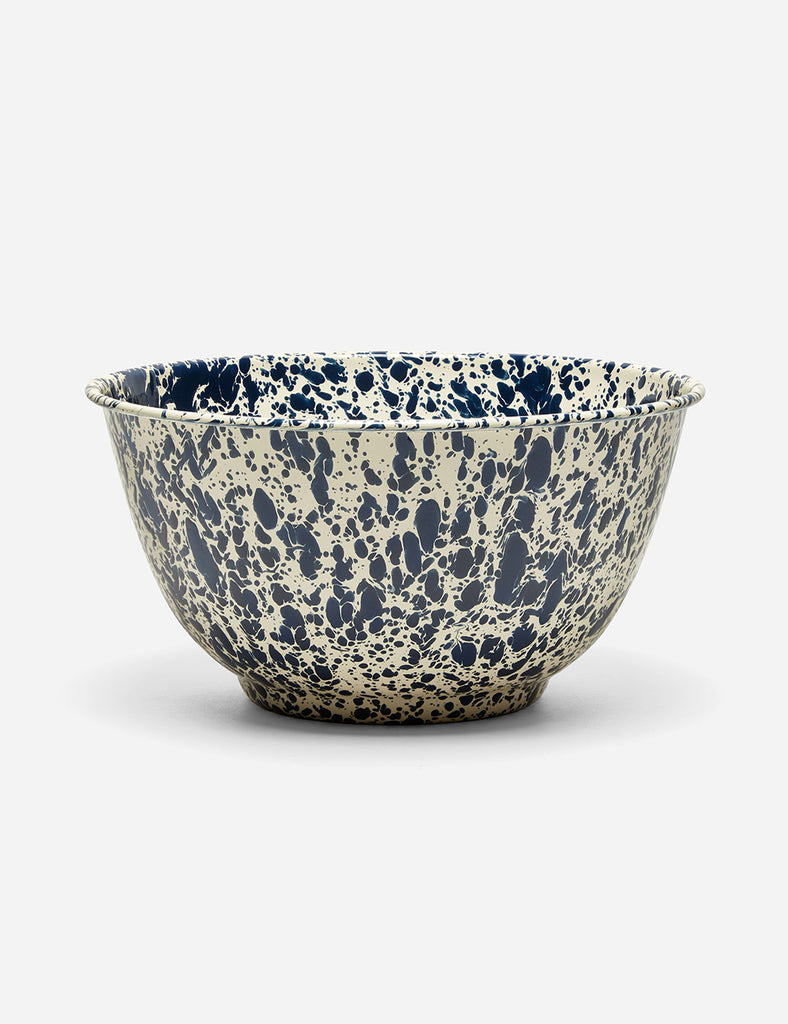 Crow & Canyon Marbled Enamel Salad Bowl (Large)  - Navy Blue - Article