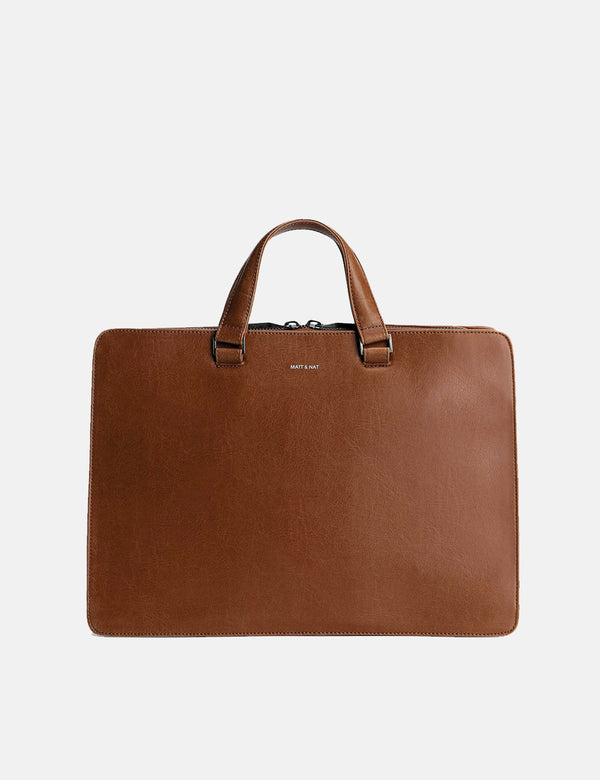 Matt & Nat David Briefcase - Chili Matte Nickel Brown