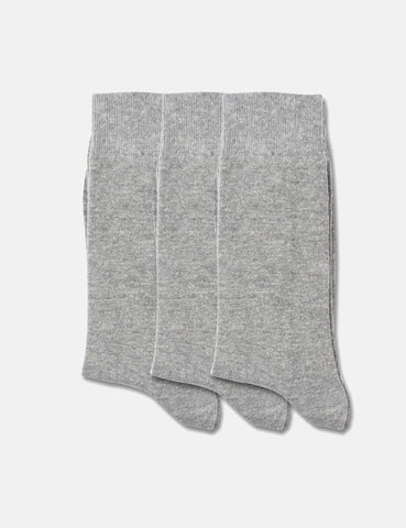 Democratique Solid Socks 3 Pack - Light Grey Melange - Article